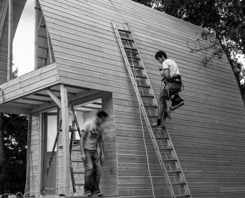 photo noir et blanc d'un chantier de la Mezzabane