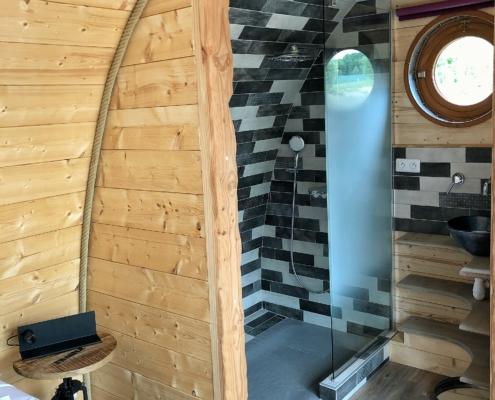 la douche dans une extension ossature bois