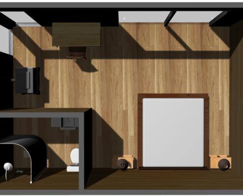 coupe intérieur extension maison bois