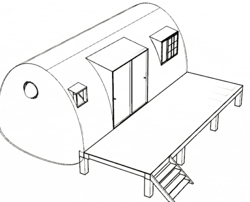 plan de coupe extension maison bois