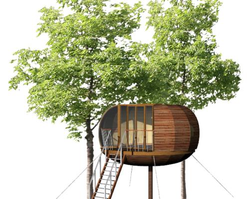 Modèle de cabane ronde sur pilotis par Ecobane