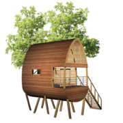 cabane sur pilotis par Ecobane