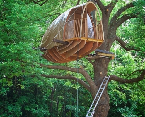 cabane dans une arbre, soutenue par des câbles