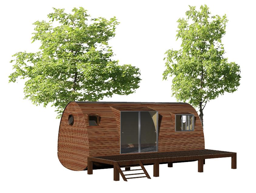 maquette 3D de la cabane Beebane